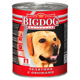 Влажный корм BIG DOG для собак, телятина/овощи, ж/б, 850 г