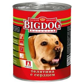 Влажный корм BIG DOG для собак, телятина/сердце, ж/б, 850 г