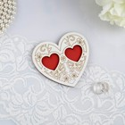 Stand ring Heart white-red, 10x10 cm