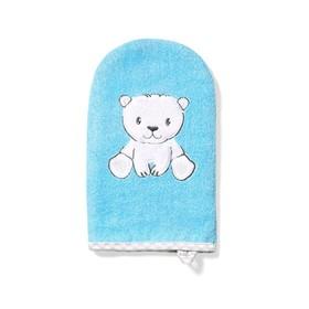Рукавичка для купания Bamboo «Мишка», цвет голубой