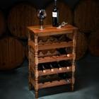 """Стеллаж винный """"Классический"""", 85х55Х32 см, на 16 бутылок, массив дуба, темный орех"""