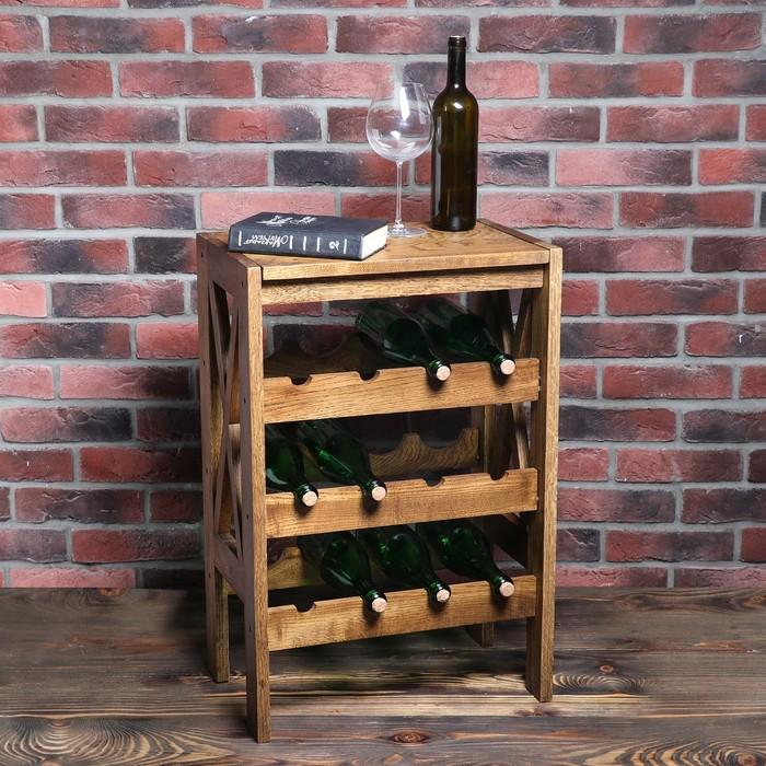 """Стеллаж винный """"Прованс"""", 12 бутылок, цвет темный орех, 70х51х32 см, массив дуба"""