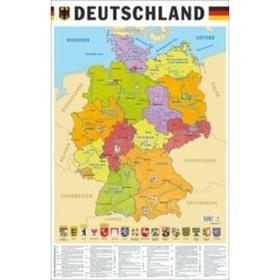 Учебные карты. Карта Германии на немецком языке (58 х 87 см). Вакс Э.