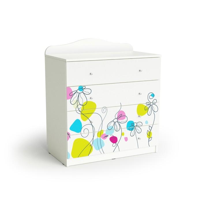 Комод с 4-мя ящиками Flowers, 800х450х910, Белый