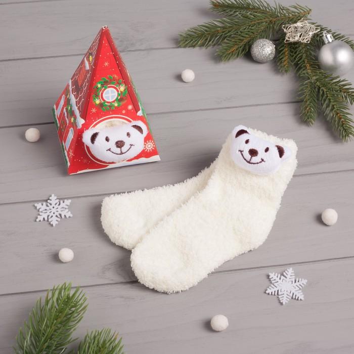 """Носки детские в подарочной коробке """"Мишка"""", 12-22см, белый"""
