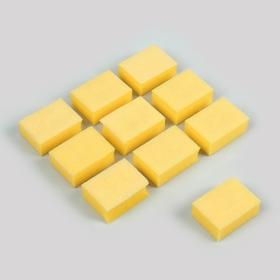 A set of emery buffs for nails, double-sided, 10 pcs, 3.5 × 2.5 cm, yellow.