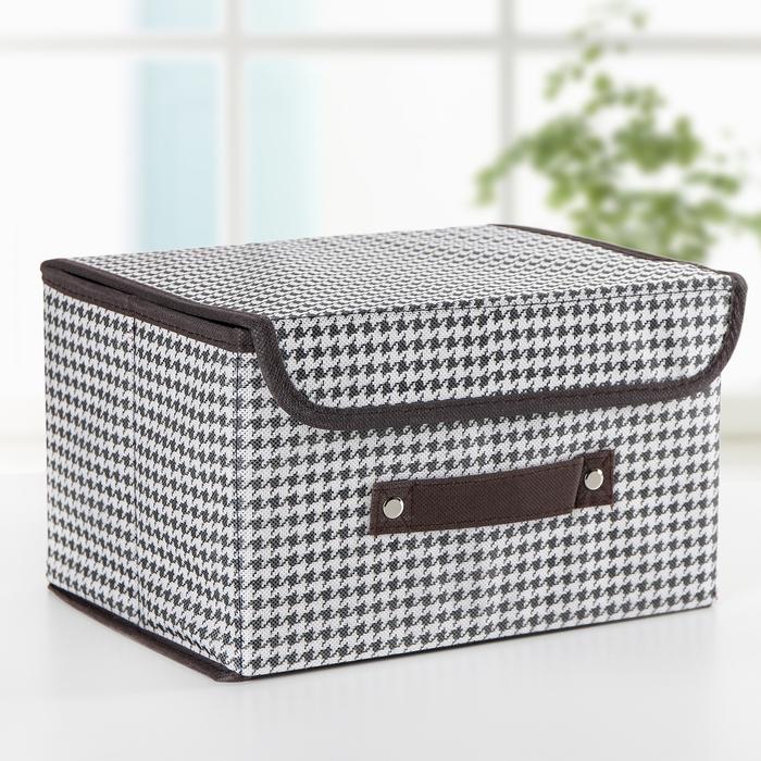 Короб для хранения с крышкой «Вилли», 26×20×16 см, цвет бело-коричневый - фото 308332016