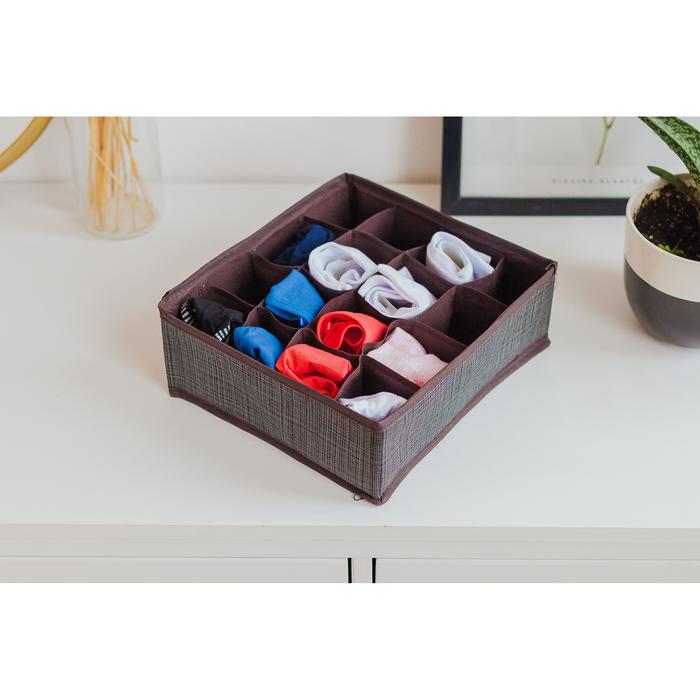 """Органайзер для белья 27×25×10 см """"Пастель"""", 16 ячеек, цвет коричневый"""