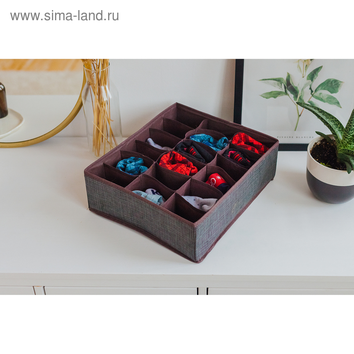 "Organizer for underwear, 18 cells, 35х30х12 cm ""Pastel"" color brown"
