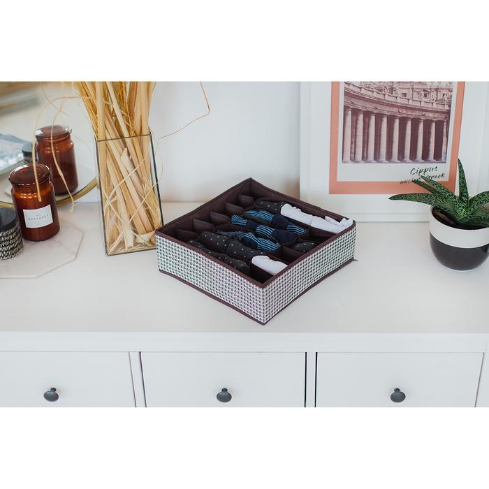 """Органайзер для белья 35×30×10 см """"Вилли"""", 24 ячейки, цвет бело-коричневый"""