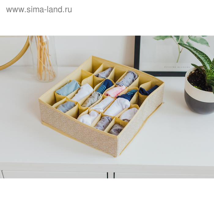 """Organizer for underwear, 24 cells, 35х30х10 cm """"Europe"""" color beige"""