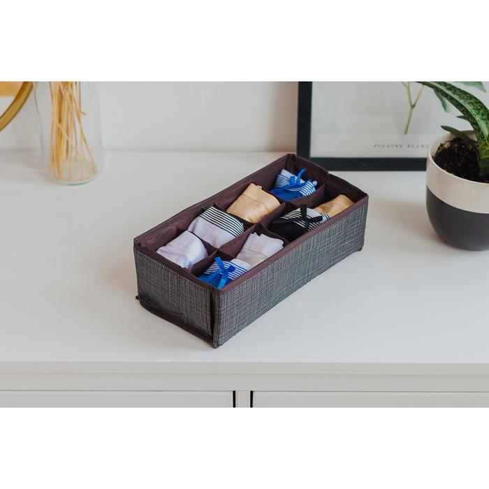 """Органайзер для белья 28×14×10 см """"Пастель"""", 8 ячеек, цвет коричневый - фото 308300612"""