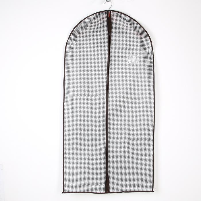 """Чехол для одежды с ПВХ окном 120×60 см """"Вилли"""", цвет бело-коричневый"""
