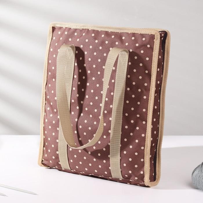 Сумка для рукоделия «Горох», 35 × 30 × 7 см, цвет коричневый