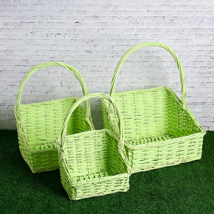 Набор корзин плетеных, ива, 3 шт, 32х32х10/20 см, зелёный