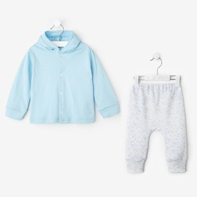 Комплект Нежность штаны/кофта с капюшоном, голубой 80