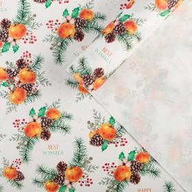 "Paper, wrapping, Kraft ""Mandarin mood"", 70 × 100 cm"