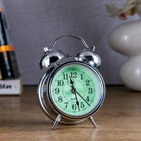 "Alarm clock ""Classics"", d=8 cm, chrome, with backlight"