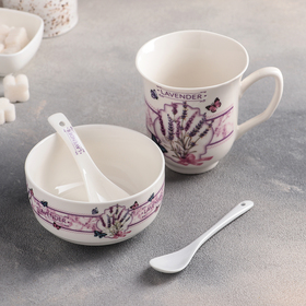 A set Breakfast Lavanda: 320 ml mug, bowl 300 ml, spoon - 2 PCs