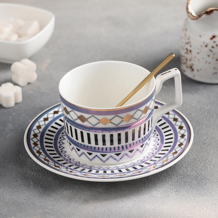 Чайная пара «Орнамент»: чашка 300 мл, блюдце, с ложкой, цвет МИКС - фото 798241432