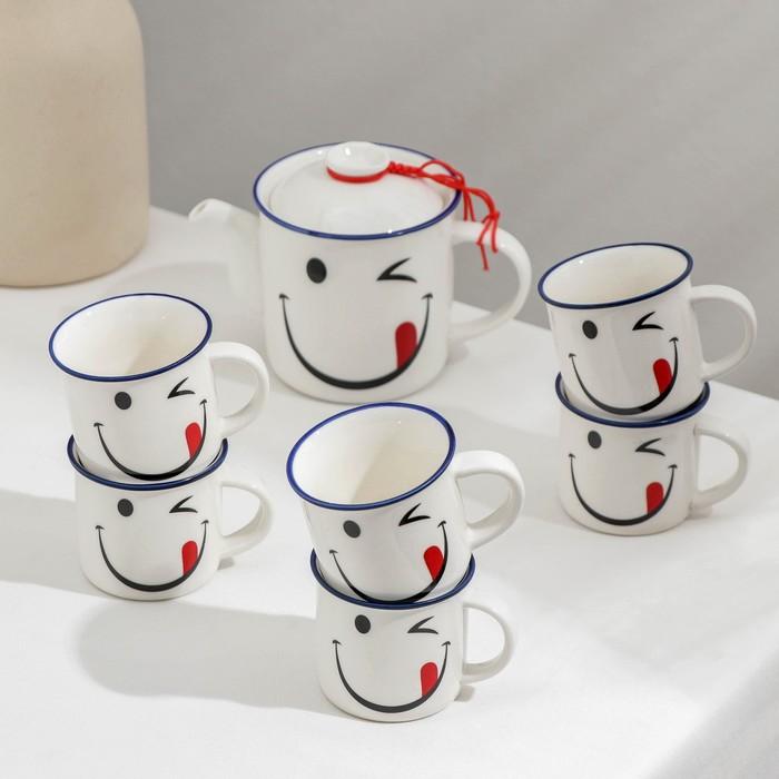Набор чайный «Радость», 7 предметов: чайник 250 мл, 6 кружек 70 мл - фото 242638