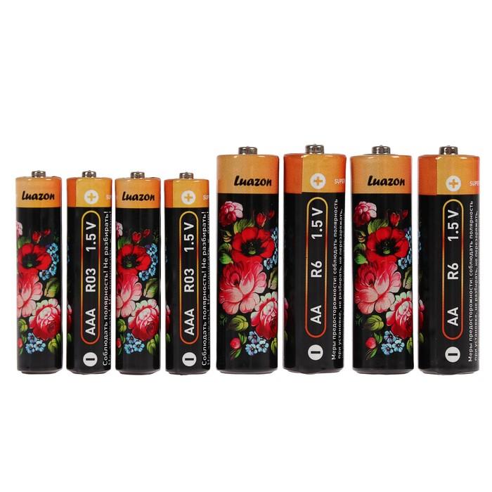 Комплект батареек солевых LuazON АА, LR6 + ААА, LR03, спайка 8 шт.