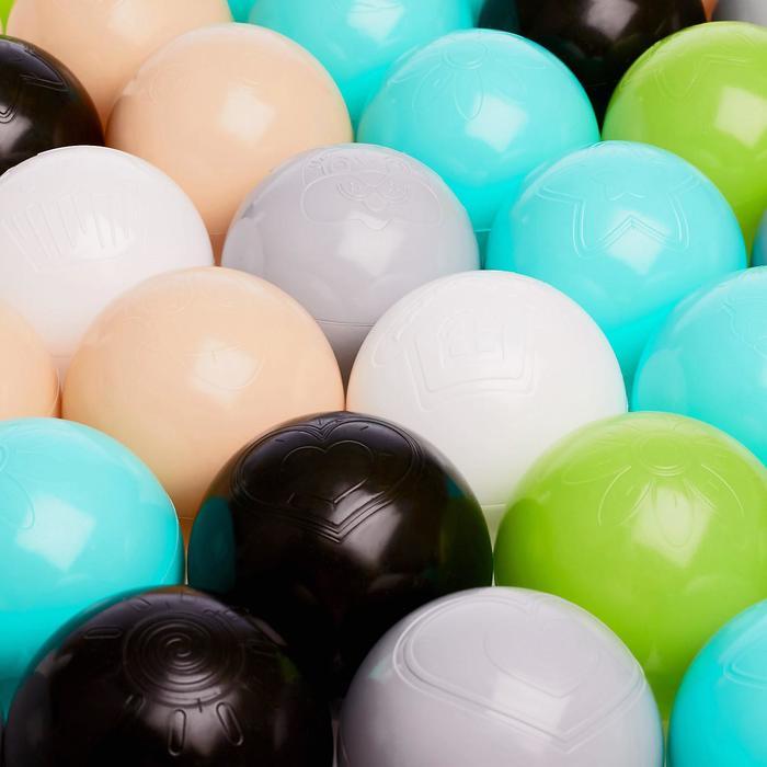 Набор шаров 150 шт, цвета: бирюзовый, серый, белый, чёрный, салатовый, бежевый, диаметр 7,5 см