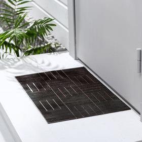 Коврик придверный резиновый «Паркет», 39×60 см, цвет шоколадный