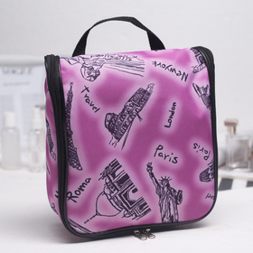 Cosmetic bag road, division zipper, with handle, color pink