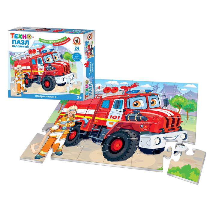 Пазл напольный «Техно.Пожарная машина», 24 элемента