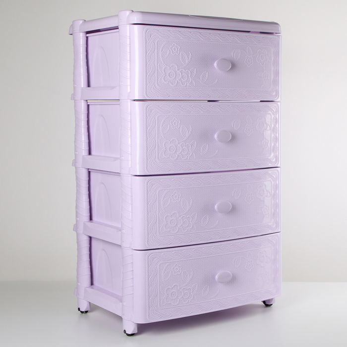 """Комод 4-х секционный широкий """"Флоран"""", цвет светло-фиолетовый - фото 254742328"""