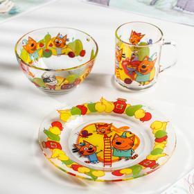 Набор посуды детский «Три кота фрукты», 3 предмета