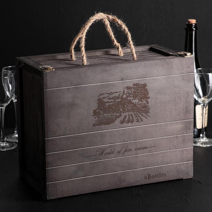 maxprize.ru подарки, сувениры, игрушки, книги. - Ящик для хранения вина «Карибы « 35×27×17 см, на 6 бутылок