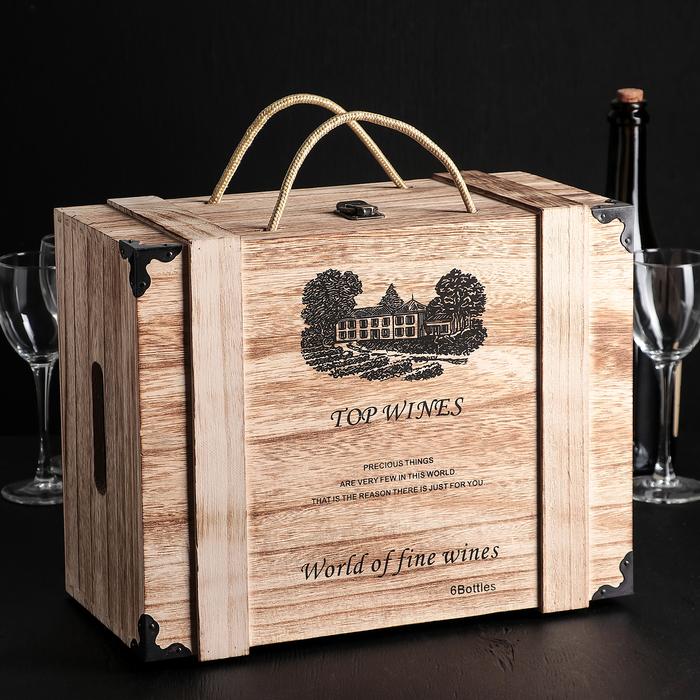 """Ящик для хранения вина 35×27×17 см """"Бергамо"""", на 6 бутылок"""