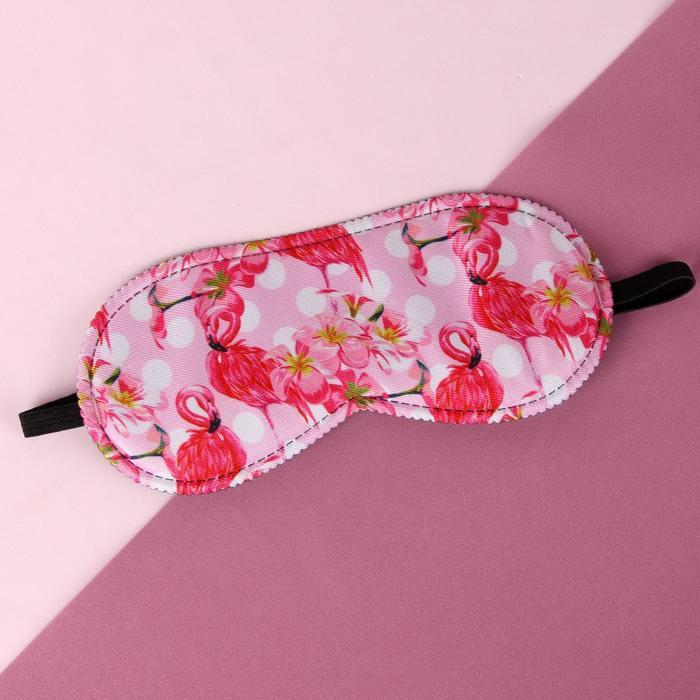 Маска для сна «Фламинго» 19,5 × 8,5 см, резинка одинарная, цвет розовый - фото 4638840