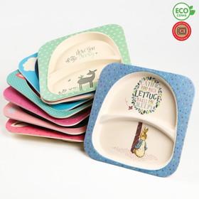 Тарелка 2-х секционная из бамбука, цвет МИКС