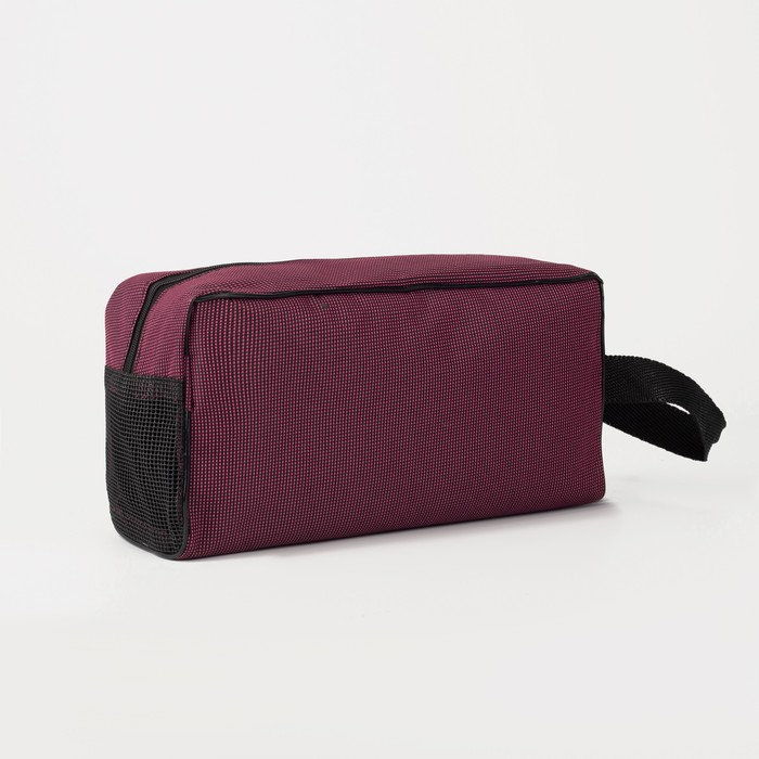 Косметичка дорожная, отдел на молнии, с ручкой, цвет бордовый - фото 1765624