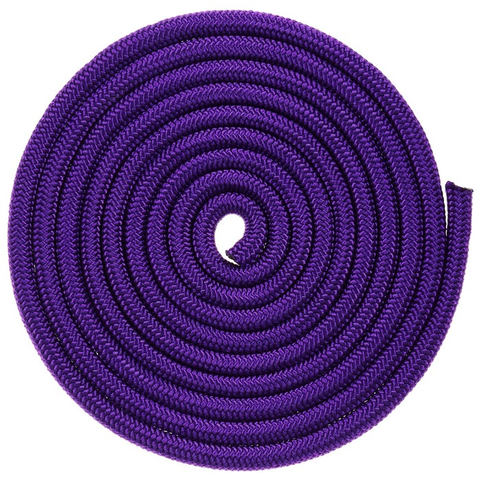 Скакалка гимнастическая утяжелённая, верёвочная, 2,5 м, 150 г, цвет фиолетовый