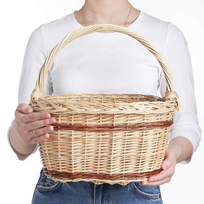 Корзина «Калина», 34×25×19/33 см, ручное плетение, ива