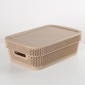 Корзина для хранения с крышкой Ajur, 3 л, цвет кофейный