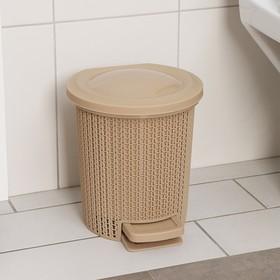 Контейнер для мусора с педалью 6 л Ajur, цвет кофейный - фото 4645636