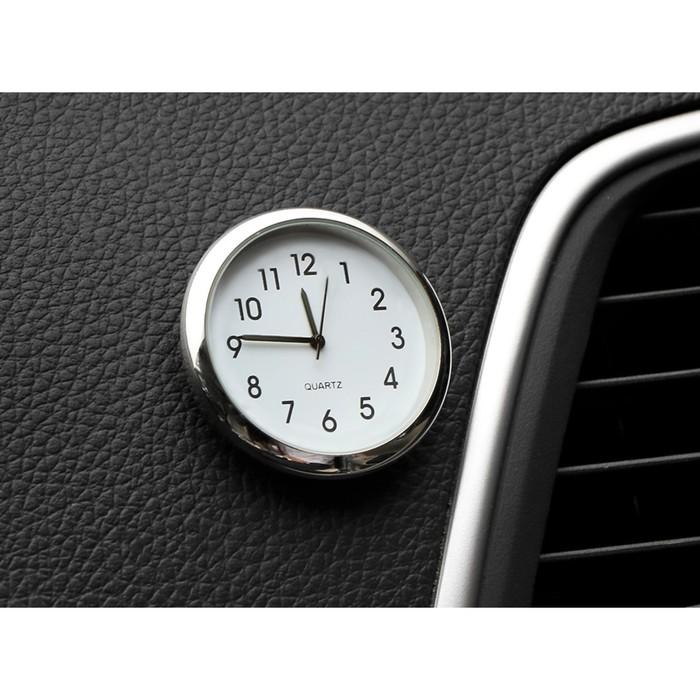 Часы автомобильные, внутрисалонные, d 4.5 см, белый циферблат