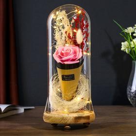 """Ночник """"Розовая роза в букете"""" LED 3ААА 10х10х21 см"""