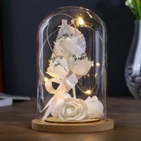 """Ночник """"Роза малая белая"""" LED 3ААА 9,5х9,5х14 см"""