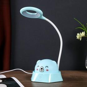 """Лампа настольная-ночник """"Радостный мишка"""" LED 5Вт голубой 14х18х41 см."""