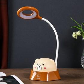 """Лампа настольная-ночник """"Радостный мишка"""" LED 5Вт коричневый 14х18х41 см."""
