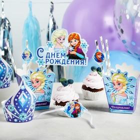 """Набор для оформления праздника """"С Днем Рождения!"""", Холодное сердце, 40 предметов"""