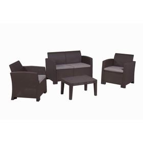 Набор мебели: диван, 2 кресла, стол, с подушкой, иск. ротанг, SF2-4P