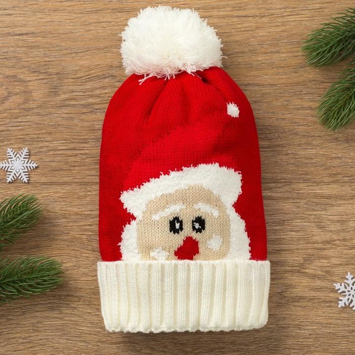 """Шапка детская MINAKU """"Дед Мороз"""", размер 50-52, цвет красный"""