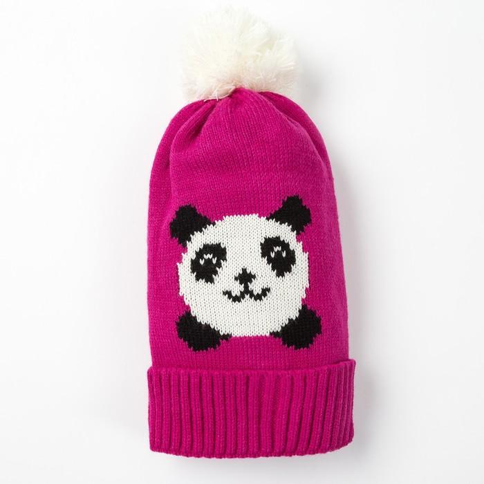 """Шапка детская MINAKU """"Панда"""", размер 50-52, цвет розовый"""